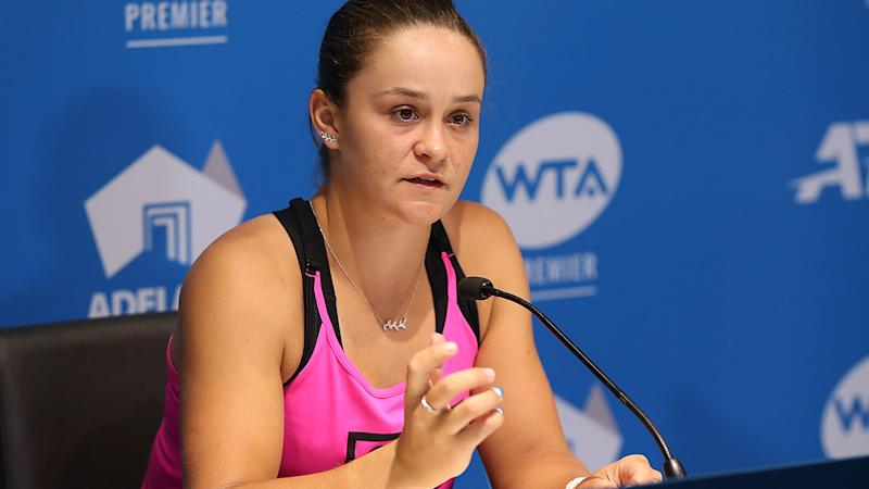 Ash Barty, pictured here addressing the media at the Adelaide International.