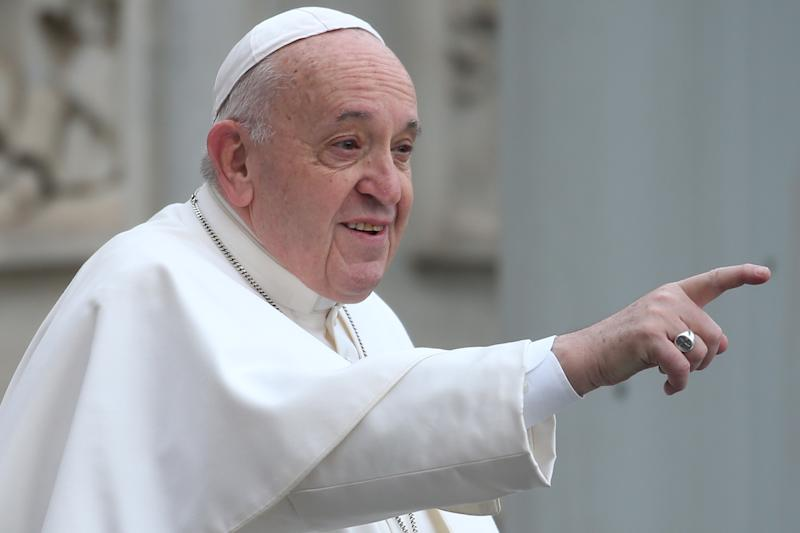VATICAN CITY, VATICAN - FEBRUARY 26: Pope Francis waves to the faithful as he arrives in St. Peter's Square for his weekly audience, on February 26, 2020 in Vatican City, Vatican. (Photo by Franco Origlia/Getty Images)