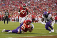 Kansas City Chiefs tight end Blake Bell (81) scores past Minnesota Vikings defensive tackle Sheldon Richardson (9) as Chiefs' Lucas Niang (67) watches during the first half of an NFL football game Friday, Aug. 27, 2021, in Kansas City, Mo. (AP Photo/Charlie Riedel)