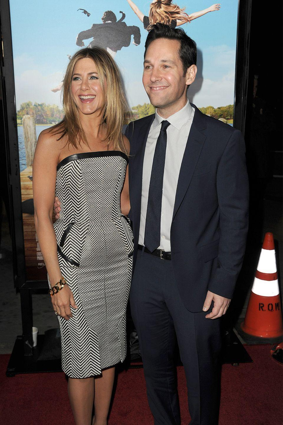 """<p>Jennifer Aniston and Paul Rudd go way back—they've been co-stars in multiple movies and TV shows together, and apparently <a href=""""http://www.celebsnow.co.uk/celebrity-news/11-things-you-didnt-know-about-paul-rudd-he-even-dated-jennifer-aniston-298276"""" rel=""""nofollow noopener"""" target=""""_blank"""" data-ylk=""""slk:dated for a brief period of time"""" class=""""link rapid-noclick-resp"""">dated for a brief period of time</a> while filming <em>The Object of My Affection.</em> Now, they're just really good friends. </p><p>In a 2012 <a href=""""https://www.gq.com/story/jennifer-aniston-paul-rudd-gq-march-2012-cover-story"""" rel=""""nofollow noopener"""" target=""""_blank"""" data-ylk=""""slk:interview with GQ"""" class=""""link rapid-noclick-resp"""">interview with <em>GQ</em></a><em>,</em> when asked if it was weird to kiss her friend onscreen, Aniston said,""""Nah. I've kissed him for years."""" Rudd chimed in and added, """"We've made out for decades.""""</p>"""