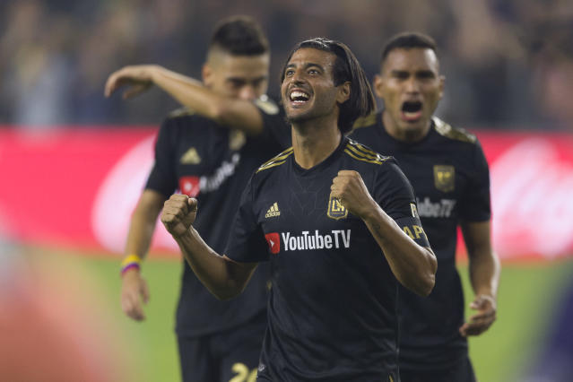 Carlos Vela scored twice as LAFC finally beat the Galaxy for the first time in six tries. (Reuters)