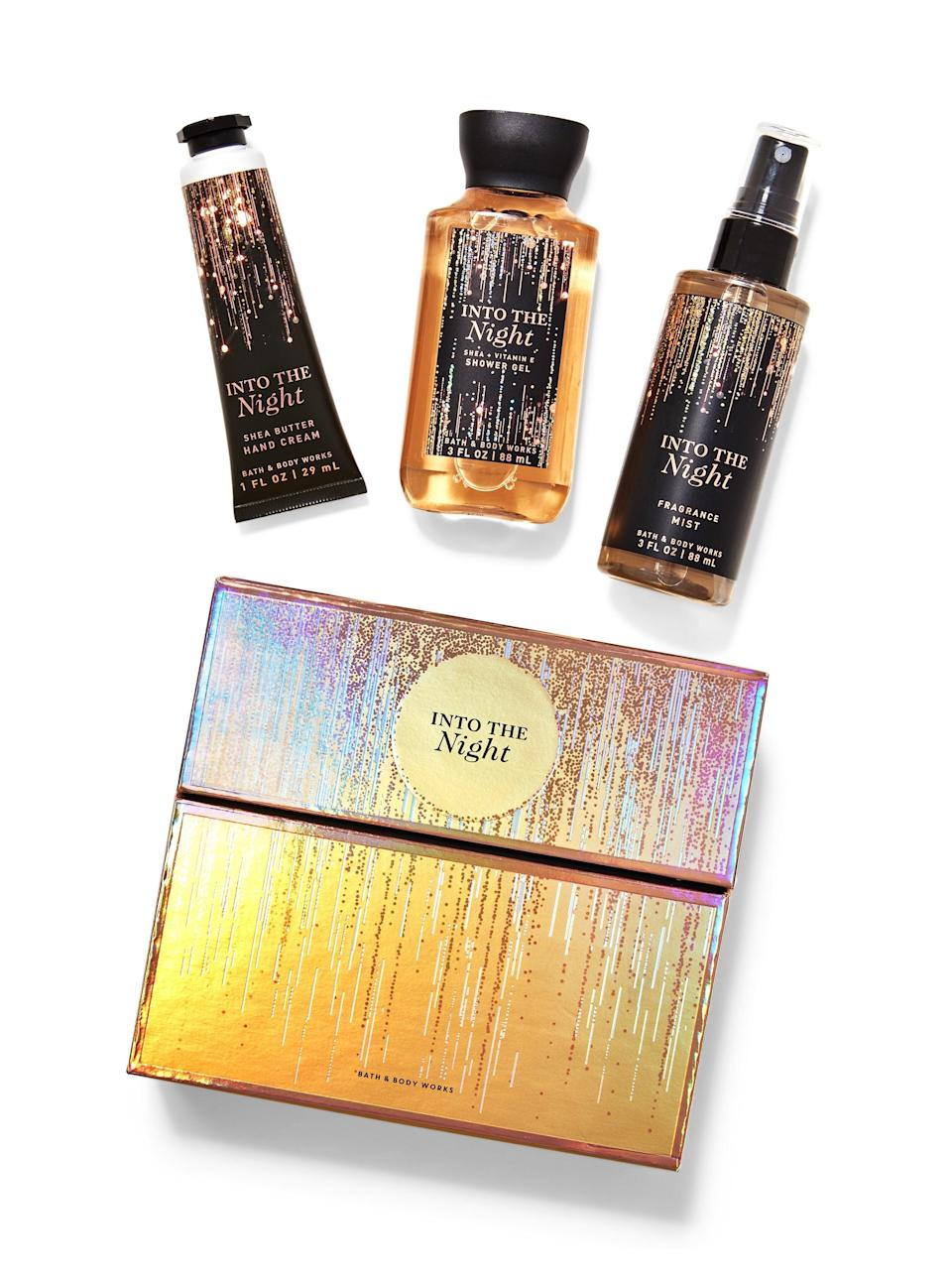 """<h3>Into The Night Mini Gift Box Set</h3><br>Maybe you're looking for a birthday gift for the <a href=""""https://www.refinery29.com/en-us/scorpio-zodiac-sign-characteristics-personality-traits"""" rel=""""nofollow noopener"""" target=""""_blank"""" data-ylk=""""slk:Scorpio"""" class=""""link rapid-noclick-resp"""">Scorpio</a> in your life. If you're stuck, this fragrance bath set looks super chic — more expensive than its $16 price tag — and the starry theme makes it fitting for any kind of celebratory occasion. <br><br><strong>Bath & Body Works</strong> INTO THE NIGHT Mini Gift Box Set, $, available at <a href=""""https://go.skimresources.com/?id=30283X879131&url=https%3A%2F%2Fwww.bathandbodyworks.com%2Fp%2Finto-the-night-mini-gift-box-set-025138114.html%3Fcgid%3Dgift-sets%23start%3D26"""" rel=""""nofollow noopener"""" target=""""_blank"""" data-ylk=""""slk:Bath & Body Works"""" class=""""link rapid-noclick-resp"""">Bath & Body Works</a>"""