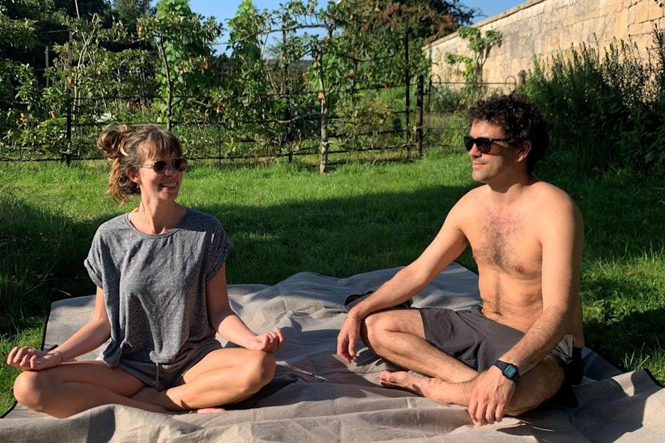 (Kate Wills and her husband Guy at the &Breathe retreat in Somerset)