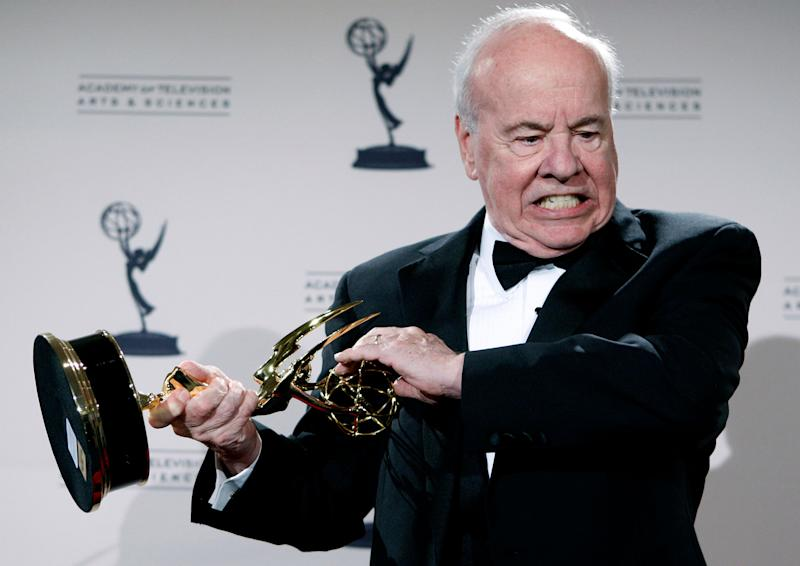 """FILE - In this Sept. 13, 2008 file photo, actor Tim Conway poses with his award for Outstanding Guest Actor in a Comedy Series for his work on """"30 Rock"""" in the press room at the Creative Arts Emmy Awards in Los Angeles. Conway, the stellar second banana to Carol Burnett who won four Emmy Awards on her TV variety show, has died, according to his publicist. He was 85. Conway died Tuesday morning, May 14, 2019, after a long illness in Los Angeles, according to Howard Bragman, who heads LaBrea Media. (AP Photo/Matt Sayles, File) ORG XMIT: NY507"""