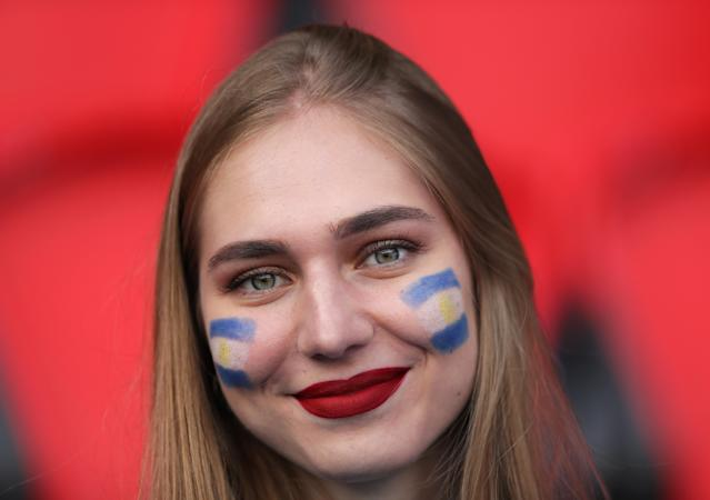 An Argentina fan shows their support during the 2019 FIFA Women's World Cup France group D match between Argentina and Japan at Parc des Princes on June 10, 2019 in Paris, France. (Photo by Richard Heathcote/Getty Images)