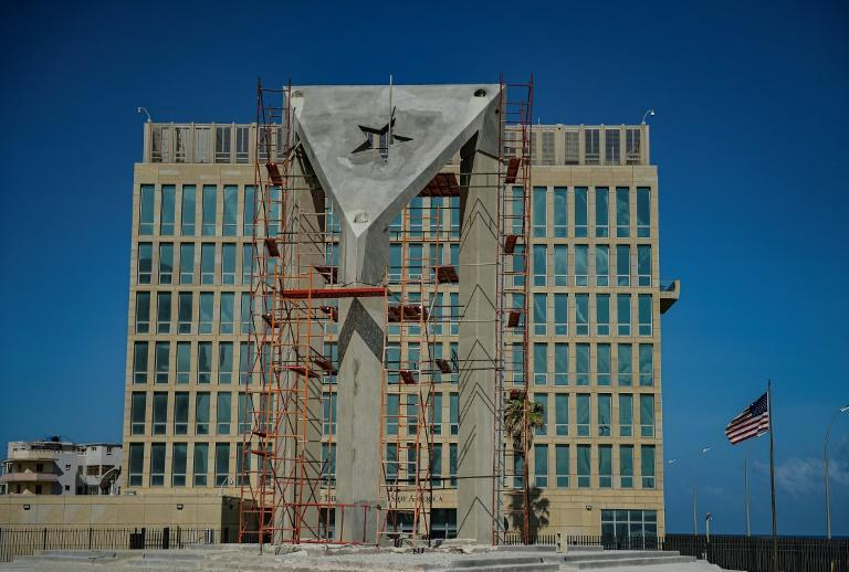 The 12-meter tall concrete flag has been installed in front of the US embassy in Havana