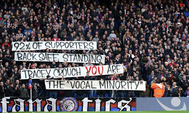 Crystal Palace fans make their feelings known about the government's dismissal of safe-standing.