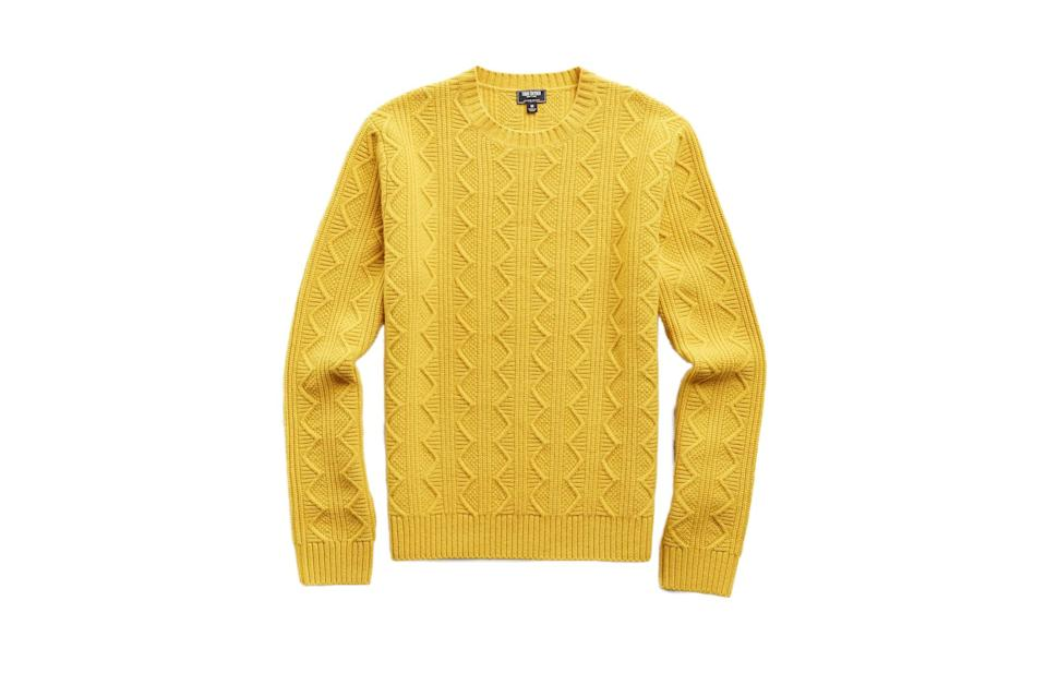"$278, Todd Snyder. <a href=""https://www.toddsnyder.com/collections/sale/products/merino-cable-crew-yellow"" rel=""nofollow noopener"" target=""_blank"" data-ylk=""slk:Get it now!"" class=""link rapid-noclick-resp"">Get it now!</a>"