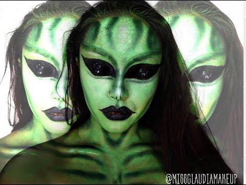 """<p>The transformation in this alien makeup tutorial will truly blow your mind. This artist starts with an opaque layer of foundation (<a href=""""https://www.cosmopolitan.com/style-beauty/g3849028/best-full-coverage-foundation/"""" rel=""""nofollow noopener"""" target=""""_blank"""" data-ylk=""""slk:full-coverage foundation"""" class=""""link rapid-noclick-resp"""">full-coverage foundation</a> will be your BFF here for this look), then covers it with <a href=""""https://www.amazon.com/Moon-Creations-Face-Body-Paint/dp/B07PRKVKQQ?th=1&tag=syn-yahoo-20&ascsubtag=%5Bartid%7C10049.g.37939334%5Bsrc%7Cyahoo-us"""" rel=""""nofollow noopener"""" target=""""_blank"""" data-ylk=""""slk:bright green face paint"""" class=""""link rapid-noclick-resp"""">bright green face paint</a> to layer on top. You're going to<strong> tap into your contouring skills here to add some depth to this look</strong>—but if it's been a minute and you don't quite remember <a href=""""https://www.cosmopolitan.com/style-beauty/beauty/how-to/a43730/face-shape-contour-map/"""" rel=""""nofollow noopener"""" target=""""_blank"""" data-ylk=""""slk:how to contour"""" class=""""link rapid-noclick-resp"""">how to contour</a>, DW, it doesn't need to be super precise for alien makeup.</p><p><a href=""""https://www.youtube.com/watch?v=rUFxk1aAT0M"""" rel=""""nofollow noopener"""" target=""""_blank"""" data-ylk=""""slk:See the original post on Youtube"""" class=""""link rapid-noclick-resp"""">See the original post on Youtube</a></p>"""