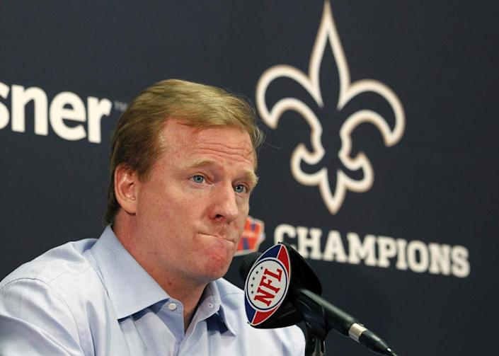 FILE - In this Aug. 2, 2010 file photo, NFL commissioner Roger Goodell speaks at a media conference at the New Orleans Saints training facility in Metairie, La. The NFL has suspended New Orleans head coach Sean Payton for the 2012 season, and former Saints defensive coordinator Gregg Williams is banned from the league indefinitely because of the team's bounty program that targeted opposing players. Also Wednesday, March 21, 2012, Goodell suspended Saints general manager Mickey Loomis for the first eight regular-season games of 2012, and assistant coach Joe Vitt has to sit out the first six games. (AP Photo/Gerald Herbert, File)