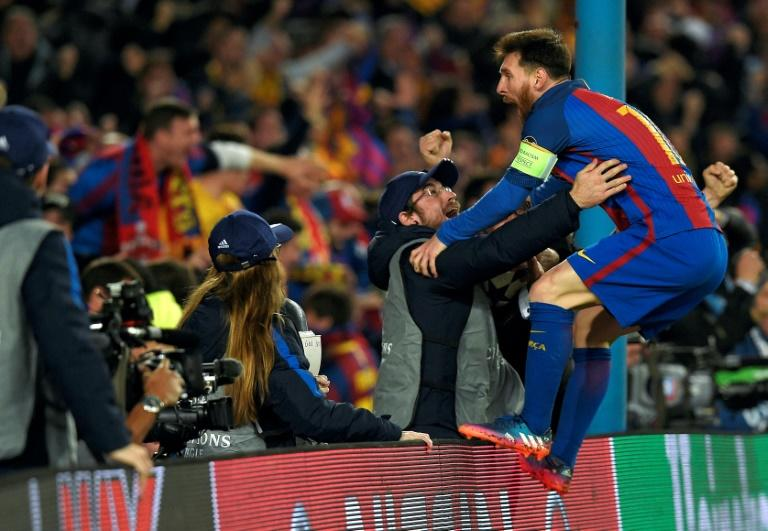 Barcelona's Lionel Messi couldn't contain his emotions after a last-gasp goal by Sergi Roberto gave the Catalan side a 6-5 aggregate victory over Paris Saint-Germain in the Champions League