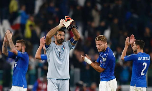 """<span class=""""element-image__caption"""">Hero of the week, Gianluigi Buffon.</span> <span class=""""element-image__credit"""">Photograph: Marco Bertorello/AFP/Getty Images</span>"""
