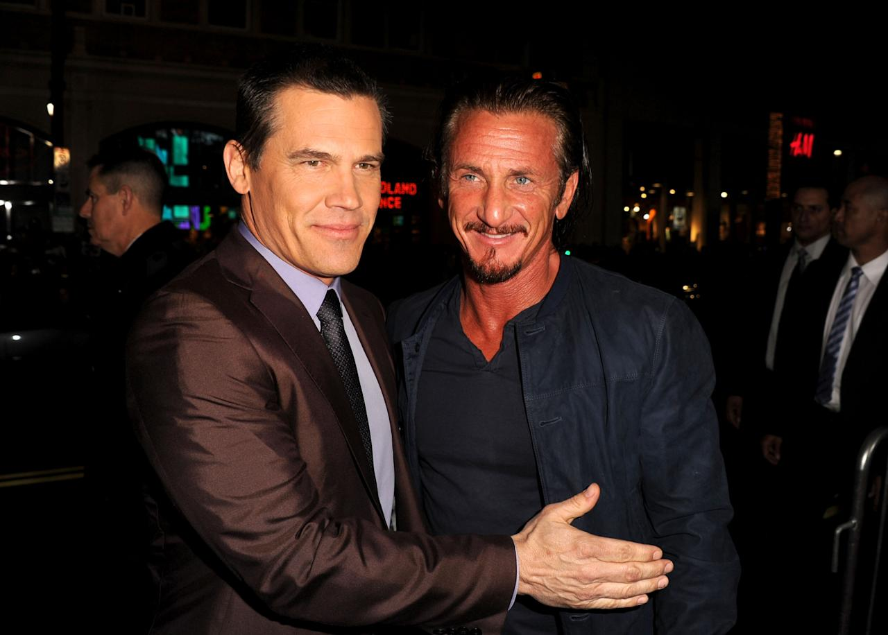 "HOLLYWOOD, CA - JANUARY 07:  Actors Josh Brolin and Sean Penn arrive at Warner Bros. Pictures' ""Gangster Squad"" premiere at Grauman's Chinese Theatre on January 7, 2013 in Hollywood, California.  (Photo by Kevin Winter/Getty Images)"