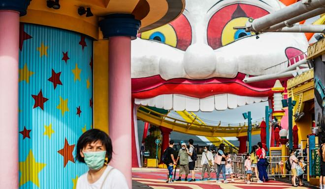 Visitors returned to Ocean Park on Friday as it reopened following more than two months of closure. Photo: Bloomberg