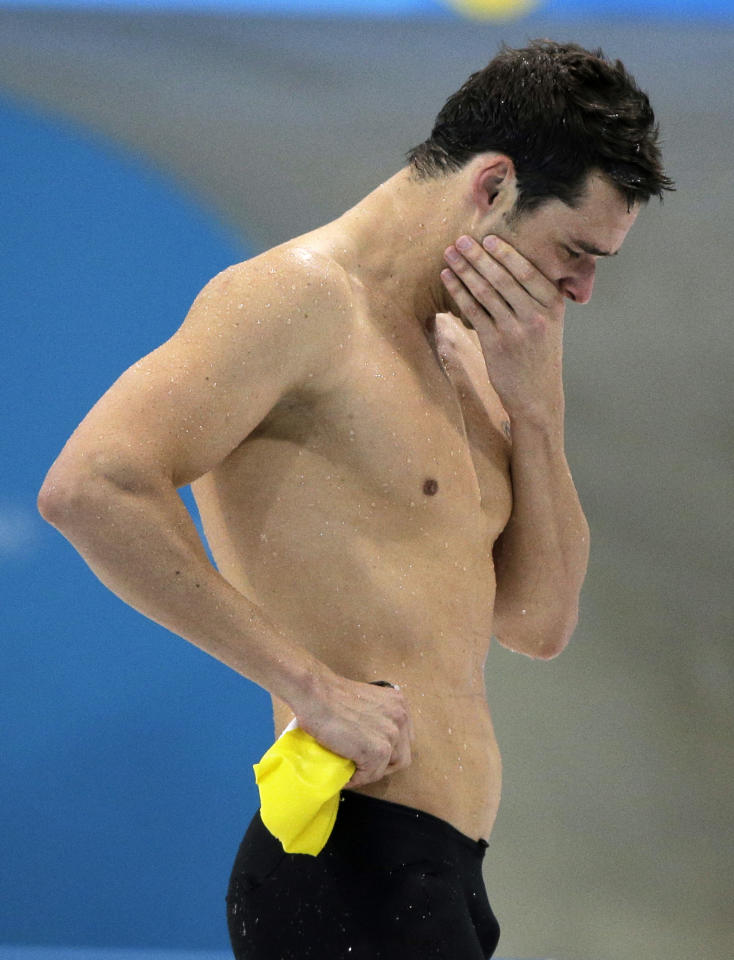 Australia's Christian Sprenger reacts after his silver medal win in the men's 100-meter breaststroke swimming final at the Aquatics Centre in the Olympic Park during the 2012 Summer Olympics in London, Sunday, July 29, 2012. (AP Photo/Matt Slocum)