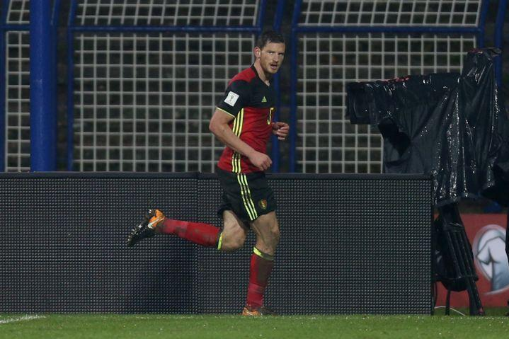 Goalscorer | Jan Vertonghen nets a goal on the day he won his 96th Belgium cap: REUTERS