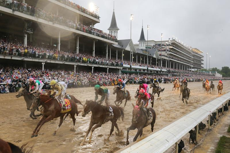 Riders cross the finish line at the 145th running of the Kentucky Derby at Churchill Downs on May 4th, 2019 in Louisville, Kentucky. (Ian Johnson/Icon Sportswire via Getty Images)