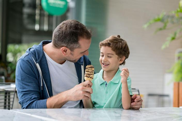 """<p>It's a holiday, so allow the kids to get a bit hopped up on sugar. Pick your <a href=""""https://www.womansday.com/food-recipes/food-drinks/g2419/fathers-day-cake-recipes/"""" rel=""""nofollow noopener"""" target=""""_blank"""" data-ylk=""""slk:dad's favorite dessert"""" class=""""link rapid-noclick-resp"""">dad's favorite dessert</a> and do a blind taste test to discover which item he loves the most. Mystery, intrigue, and sugar! What more could you want?</p>"""