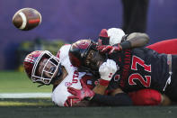 Utah tight end Dalton Kincaid (86) and San Diego State safety Cedarious Barfield (27) try to catch a pass intended for Kincaid in the end zone during the first half of an NCAA college football game Saturday, Sept. 18, 2021, in Carson, Calif. The pass was incomplete. (AP Photo/Ashley Landis)