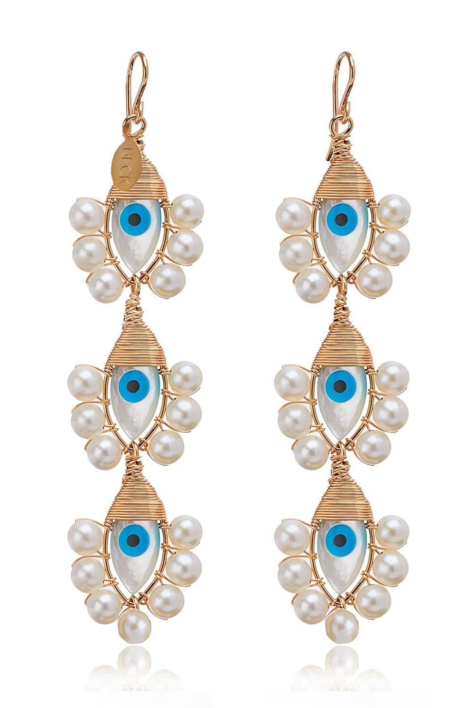 "<br> <br> <strong>Beck Jewels</strong> Evil Eye Lolita Trio Earrings, $, available at <a href=""https://go.skimresources.com/?id=30283X879131&url=https%3A%2F%2Fmaison-de-mode.com%2Fproducts%2Fevil-eye-lolita-trio-earrings"" rel=""nofollow noopener"" target=""_blank"" data-ylk=""slk:Maison de Mode"" class=""link rapid-noclick-resp"">Maison de Mode</a>"