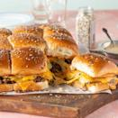 """<p>For an even heartier cheeseburger, try these easy sliders. You can make them all at once so they're a great family meal.</p><p><a href=""""https://www.thepioneerwoman.com/food-cooking/recipes/a35930925/cheeseburger-sliders/"""" rel=""""nofollow noopener"""" target=""""_blank"""" data-ylk=""""slk:Get the recipe."""" class=""""link rapid-noclick-resp""""><strong>Get the recipe.</strong></a></p>"""