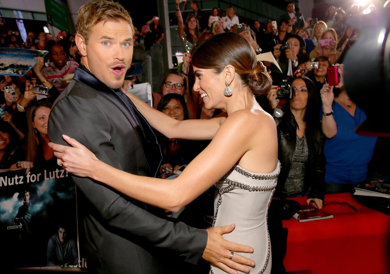 "Kellan Lutz (L) and Nikki Reed arrive at the premiere of Summit Entertainment's ""The Twilight Saga: Breaking Dawn - Part 2"" at Nokia Theatre L.A. Live on November 12, 2012 in Los Angeles, California.  (Photo by Christopher Polk/Getty Images)"