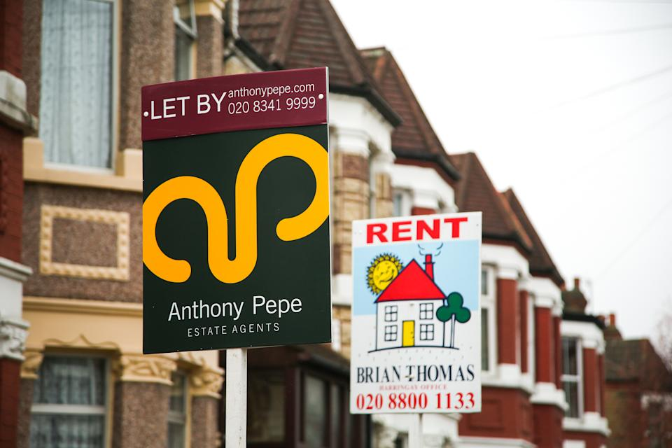 "LONDON, UNITED KINGDOM - 2020/11/25: A 'To Let' and ""Rent"" estate agent board sign erected outside a property in London. (Photo by Dinendra Haria/SOPA Images/LightRocket via Getty Images)"