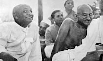 Mohandas Karamchand Gandhi with Sardar Patel 1945. Gandhi (2 October 1869 Ð 30 January 1948). was the preeminent leader of the Indian independence movement in British-ruled India. Sardar Vallabhbhai Patel (1875 Ð 1950) was an Indian statesman. a leader of the Indian National Congress and a founding father of the Republic of India. He was the first Home Minister of India. (Photo by: Universal History Archive/Universal Images Group via Getty Images)