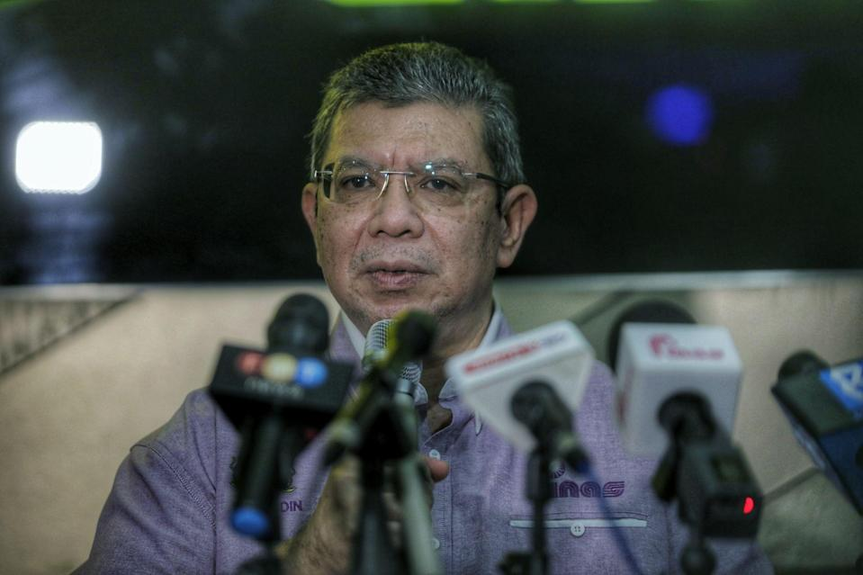 Communications and Multimedia Minister Datuk Saifuddin Abdullah speaks during a press conference at GSC Mid Valley Kuala Lumpur March 20,2021.— Picture by Ahmad Zamzahuri