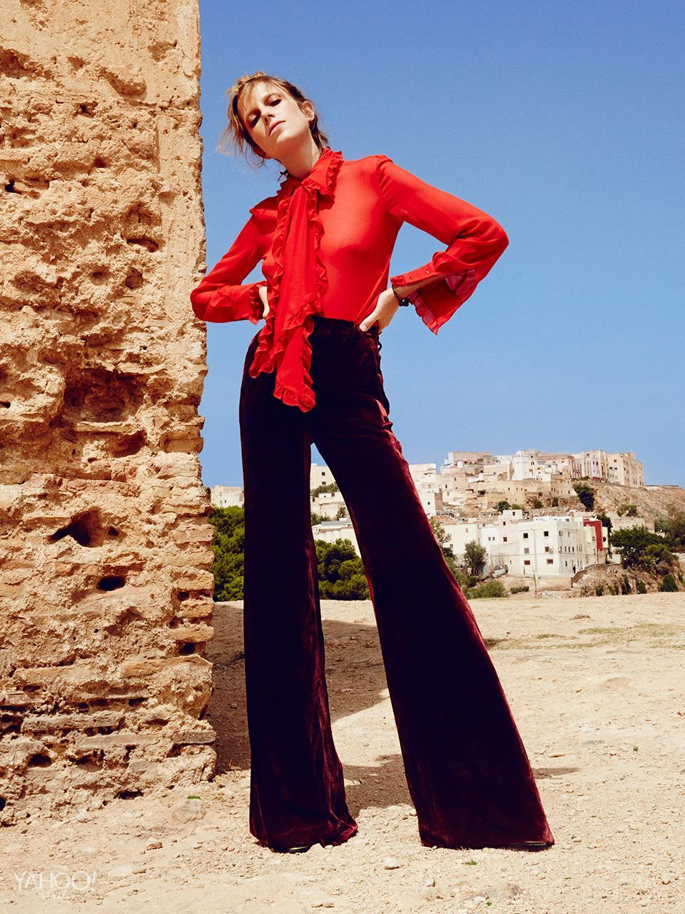 """<p>Different shades of the same color, like this cherry red blouse and burgundy velvet pants by Pucci, always works. <br>Emilio Pucci Long Ruffled Silk Georgette Shirt, $1,765, <a href=""""http://www.emiliopucci.com/us/shop-online/women/long-sleeve-shirt_cod37741025pt.html"""" rel=""""nofollow noopener"""" target=""""_blank"""" data-ylk=""""slk:emiliopucci.com"""" class=""""link rapid-noclick-resp"""">emiliopucci.com </a><br>Emilio Pucci Bordeaux Velvet Trousers, $1,505, <a href=""""http://www.emiliopucci.com/us/shop-online/women/dress-pants_cod36719640cb.html"""" rel=""""nofollow noopener"""" target=""""_blank"""" data-ylk=""""slk:emiliopucci.com"""" class=""""link rapid-noclick-resp"""">emiliopucci.com</a><br>Lanvin Gold Lamé Calf Heeled Boot, $1,985, Available at Saks Fifth Avenue In New York, 212.753.4000<br>New York Vintage Bracelet, Price Upon Request, <a href=""""http://newyorkvintage.com/"""" rel=""""nofollow noopener"""" target=""""_blank"""" data-ylk=""""slk:newyorkvintage.com"""" class=""""link rapid-noclick-resp"""">newyorkvintage.com</a></p>"""