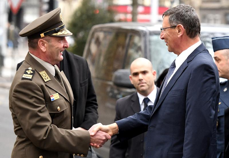 "Israeli director-general of the Defense Ministry Udi Adam (R) shakes hands with Chief of General Staff of Croatian army Mirko Sundov prior to their meeting in  which Adam said that Israel ""could not...implement"" the plan to sell F-16 jets to Croatia"