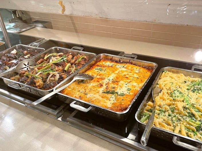 Four different dishes at the Lido Buffet on the Carnival Vista cruise ship.