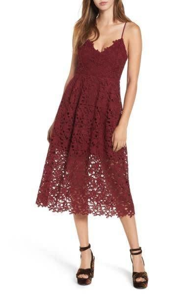 Get this adorable lace midi in a gorgeous arrange of autumnal colors at <span>Nordstrom for $90</span>.