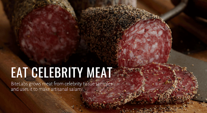 Promotional materials for BiteLabs offbeat human salamis, lab-grown from the cells of celebrities.