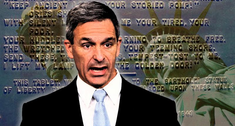 """Acting Director of United States Citizenship and Immigration Services Ken Cuccinelli, speaks during a briefing at the White House, Monday, Aug. 12, 2019, in Washington; the Statue of Liberty; and, """"The New Colossus"""". (Photo illustration: Yahoo News; photos: Evan Vucci/AP, Getty Images, National Park Service)"""