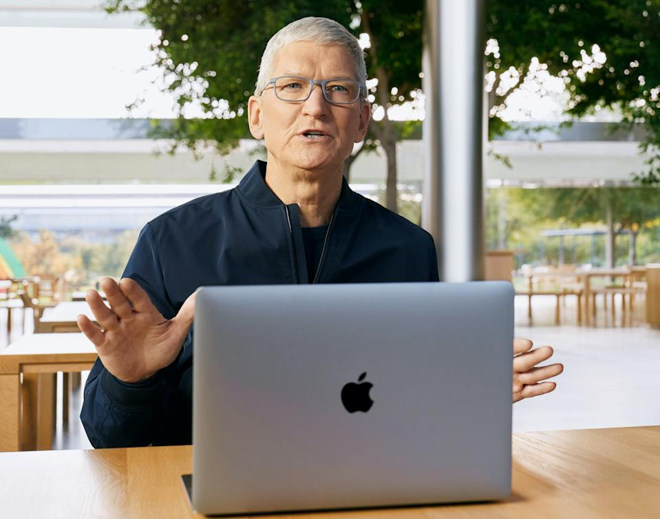 Apple CEO Tim Cook introduced a trio of new Mac products powered by the company's first M1 chip, replacing Intel's processors in its laptops and desktop products. (Image: Brooks Kraft/Apple Inc)