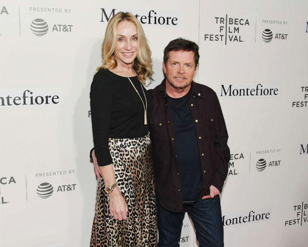 PHOTO: In this April 30, 2019, file photo, Tracy Pollan and Michael J. Fox walk the red carpet for the Tribeca Talks - Storytellers event at the 2019 Tribeca Film Festival in New York. (Nicholas Hunt/Getty Images for Tribeca Film Festival, FILE)
