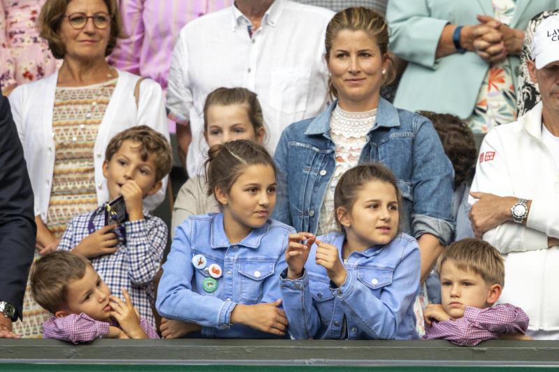 Mirka Federer, wife of Roger Federer, with their children nine-year-old twin girls Charlene and Myla and five-year-old boys Lenny and Leo during Wimbledon.