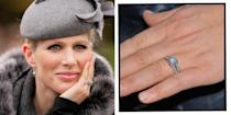 """<p>Mike Tindall, the husband of Princess Anne's daughter Zara, gifted her with a double-banded platinum diamond engagement ring when he proposed in 2010.</p><p>The ring was designed by the rugby player and made by jeweller, with a solitaire diamond set against a pavé of small diamonds, the Daily Mail reported at the time.</p><p><a class=""""link rapid-noclick-resp"""" href=""""https://go.redirectingat.com?id=127X1599956&url=https%3A%2F%2Fwww.selfridges.com%2FGB%2Fen%2Fcat%2Fvashi-18ct-white-gold-and-diamond-engagement-ring_5290-10256-SV18032W18%2F&sref=https%3A%2F%2Fwww.elle.com%2Fuk%2Flife-and-culture%2Fwedding%2Fg28785354%2Froyal-family-engagement-rings-meghan-markle-kate-middleton-queen%2F"""" rel=""""nofollow noopener"""" target=""""_blank"""" data-ylk=""""slk:SHOP SIMILAR"""">SHOP SIMILAR </a>Vashi 18ct white-gold and diamond engagement ring, Selfridges, £1,190 </p>"""