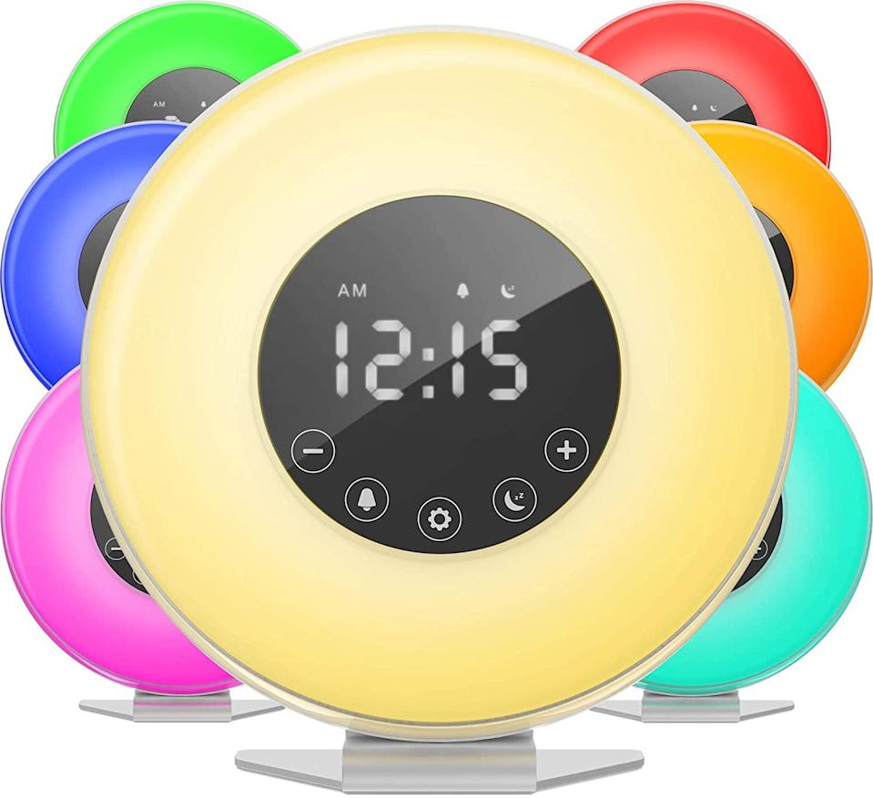 <p>This <span>HomeLabs Sunrise Alarm Clock</span> ($20). naturally wakes you up and changes into fun colors.</p>