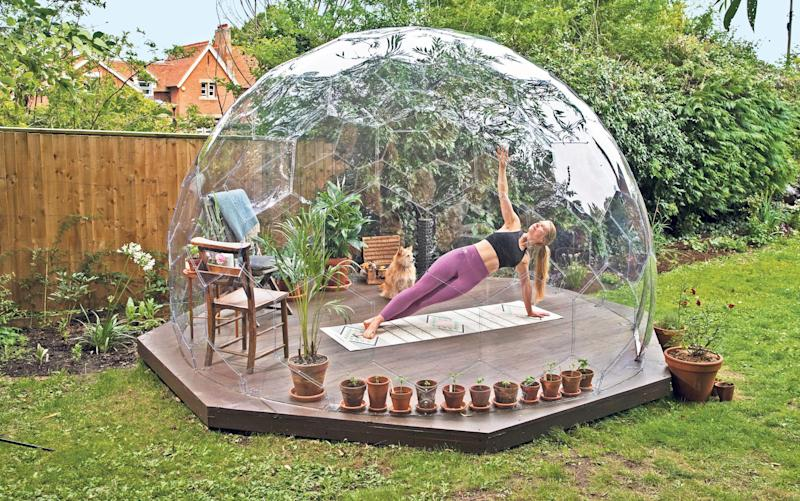 Award-winning pilates teacher and author Hollie Grant in her garden dome retreat, Oxfordshire - Heathcliff O'Malley