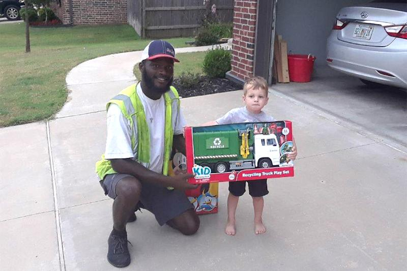 Little Boy Gets Toy Recycle Truck from Beloved Sanitation Worker He Greets Almost Every Day
