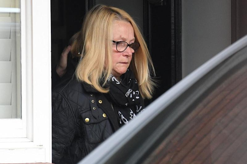 Ant McPartlin's mother pictured leaving the TV presenter's home today (Jeremy Selwyn)