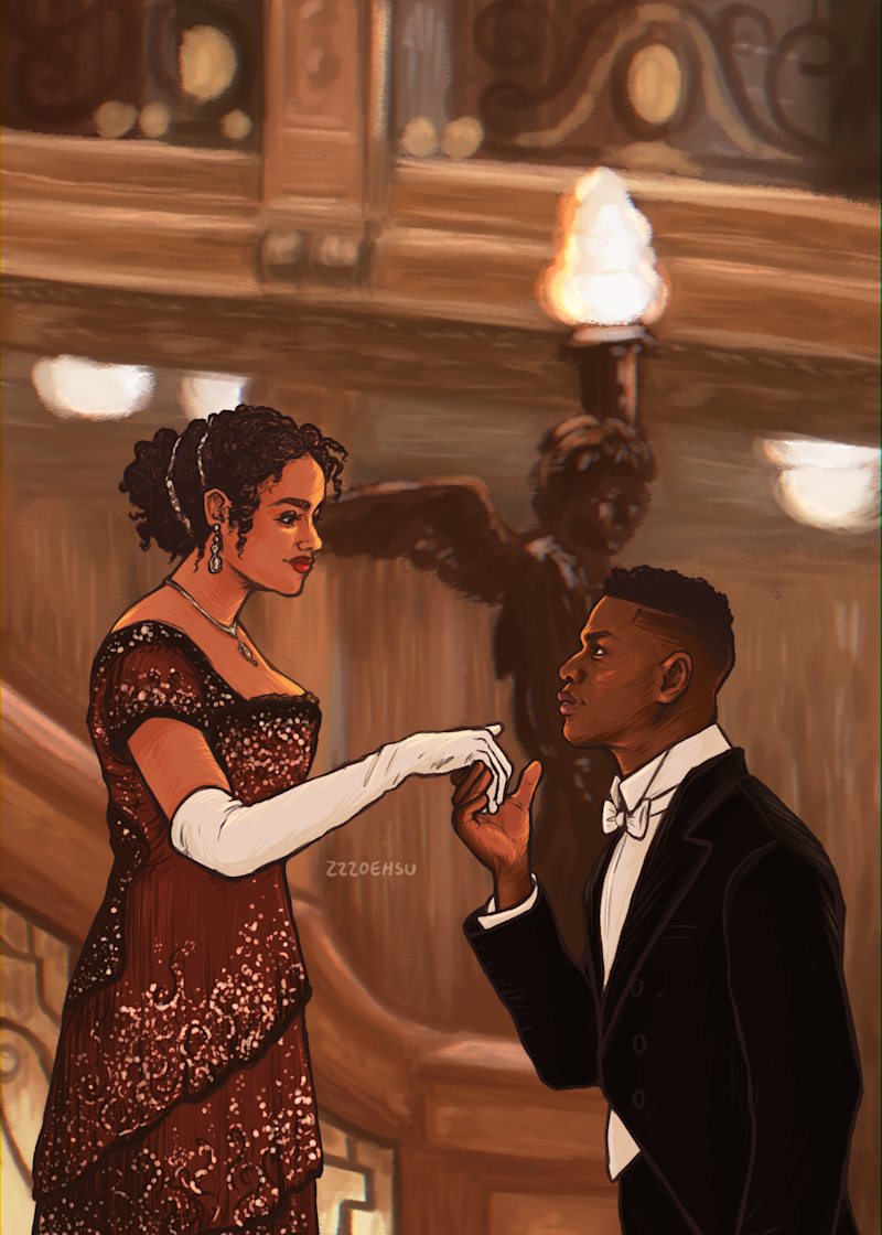 John Boyega shared Zoe Hsu's illustration of him and Nathalie Emmanuel as Rose and Jack in Titanic. (Image: Courtesy of Zoe Hsu)