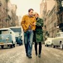 "NASCAR driver Jimmie Johnson and wife Chandra as Bob Dylan's ""The Freewheelin' Bob Dylan"" (ESPN The Magazine)"