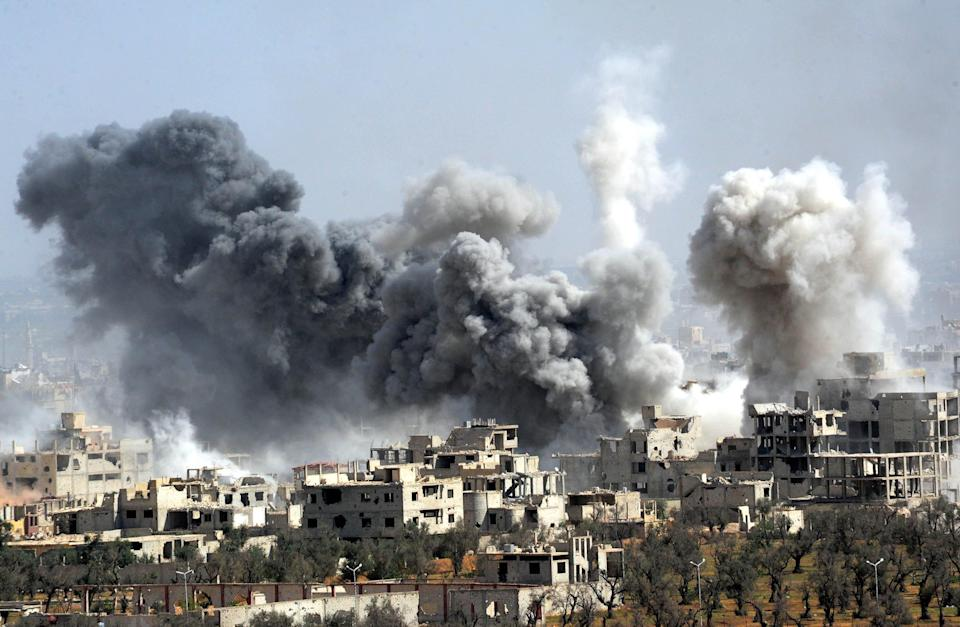 Syrian forces carry out airstrikes on Douma (Rex)