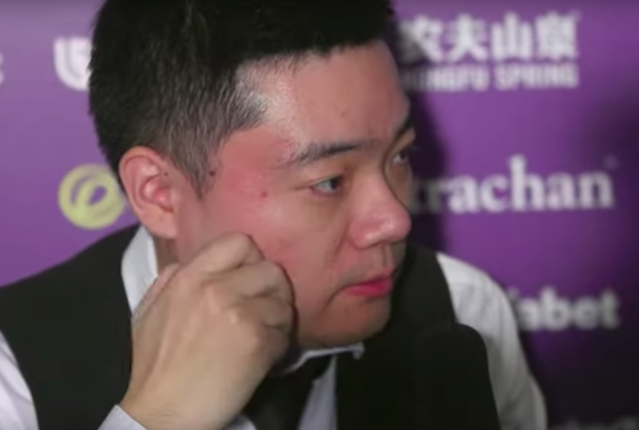 Ding Junhui after his first-round Masters defeat to Joe Perry