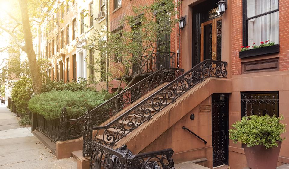 Elegant brownstones and townhouses in the West Village. Manhattan, New York City