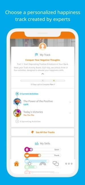 Screenshot of Happify app showing your personalized happiness track