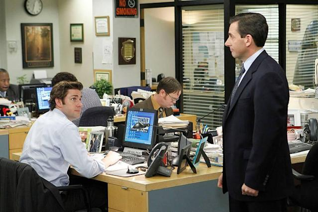 Understated comic geniuses Krasinski and Carell (gently) face off. (Photo: NBCUniversal Television Distribution)